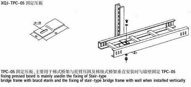 XQJ-TPC-05 固定压板详细信息: 江苏华泽机电设备有限公司是专业的附件、XQJ-TPC-05 固定压板设计生产、配套安装厂家,找专业设计、配套安装XQJ-TPC-05 固定压板产品的正规厂家,当选江苏华泽机电设备有限公司,联系电话:0511-88438002。 桥架,母线槽,天关柜是江苏华泽机电设备有限公司主要产品,XQJ-TPC-05 固定压板适用于各种企业室内外架空敷设电力电缆、控制电缆需求。 电缆桥架分为槽式、托盘式和梯架式、网格式等结构,由支架、托臂和安装附件等组成。可以独立架设,也可以敷